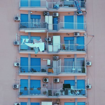 Windows of the world. Built Structure Residential Building Architecture City Outdoors Apartment No People Blue City Life Windows Repetition World Italy Palermo Picsartrefugees Miles Away