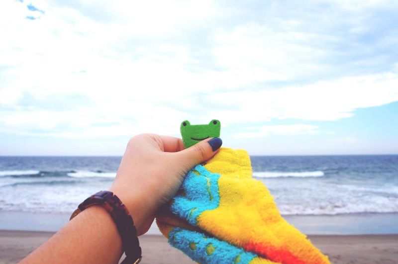 Sister Love Lifestyles Outdoors Sea Towel Holding Overseas Water Beach Horizon Over Water Gift Frog Human Hand Day