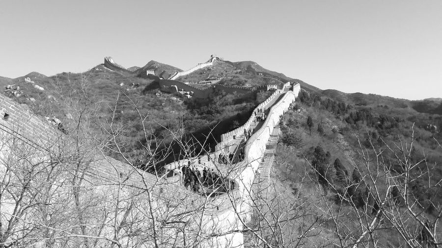 Nature Blackandwhite Sky Landscape Tree Day Photography Outdoors Tranquility Mountain China Land Great Wall Of China Clear Sky Environment Bare Tree Beauty In Nature Tranquil Scene Mountain Range Non-urban Scene Rolling Landscape Scenics - Nature It's About The Journey