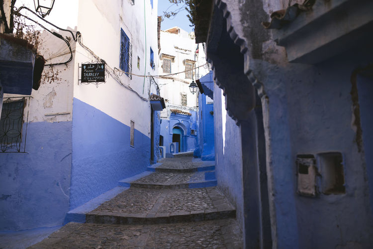 Morroc Alley Architecture Blue Bluesky Building Building Exterior Built Structure City Day Direction Empty House Narrow Nature No People Outdoors Residential District Staircase The Way Forward Town Transportation