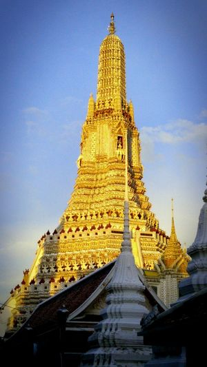 Wat Arun (Temple Of Dawn) Architecture Belief Building Building Exterior Built Structure History In Sunlight Low Angle View No People Ornate Outdoors Place Of Worship Religion Sky Spirituality The Past Tourism Travel Travel Destinations