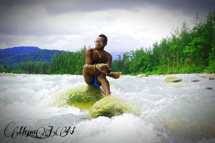 Timika Papua Papuansphoto Papua Free Of Indonesia Colonial Water Full Length Friendship Togetherness Adventure Motion Standing Fun Boys Sky EyeEmNewHere