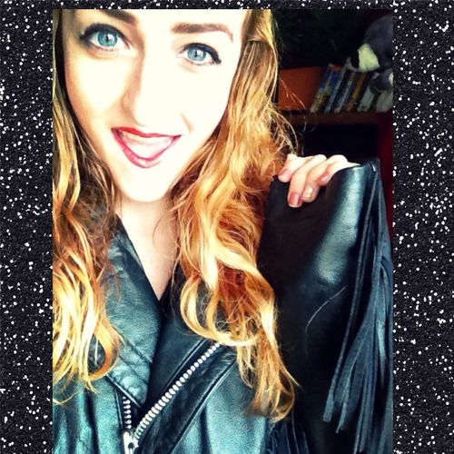 90's Chick Selfportrait Flower Child Blonde Good Vibes Groovy Today's Hot Look Leather Jacket Fringe Christmas Shopping