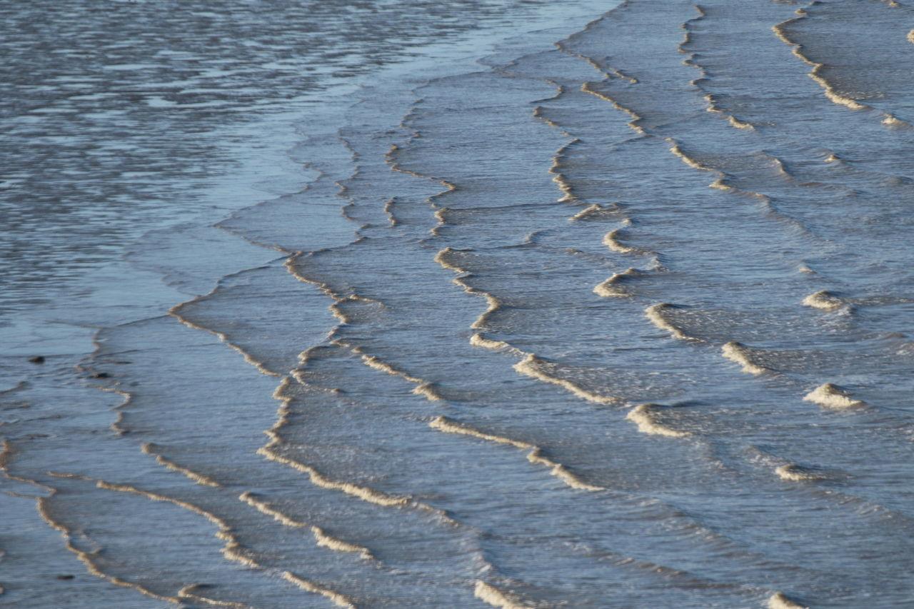 High Angle View Of Waves At Riverbank