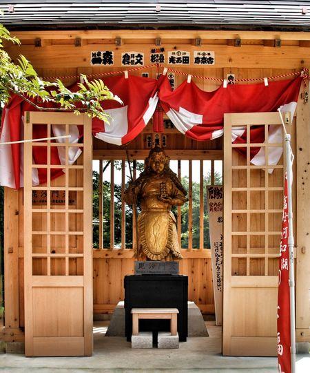 07.2008 Kawaguchiko Yamanashi Japan Street Photography Bishamonten Shrine Bishamon Statue Built Structure Buddhism Outdoors Throwback Japanese Culture Japan Life