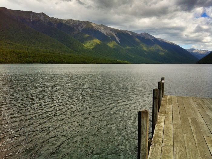 Nelson Lakes, New Zealand Nelson Lakes National Park Water Pier Wooden Post Outdoors Waterfront Mountain Range Idyllic Nature Lake Tranquil Scene Tranquility Sky Cloud - Sky Wood - Material No People