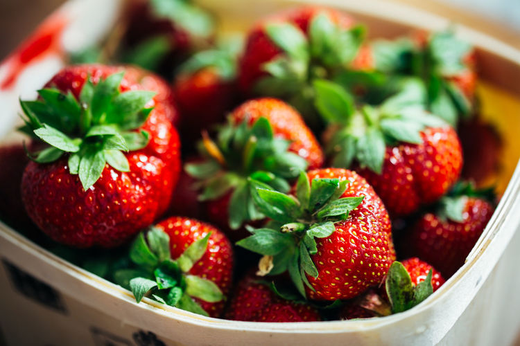 Basket of fresh strawberries Basket Berry Fruit Close-up Focus On Foreground Food Food And Drink Freshness Fruit Green Color Healthy Eating Indoors  Large Group Of Objects No People Red Ripe Selective Focus Still Life Strawberry Wellbeing
