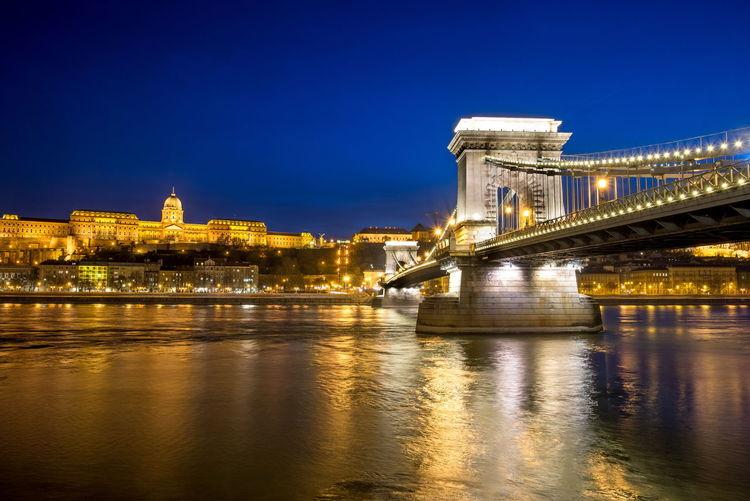 Illuminated bridge over danube river in budapest
