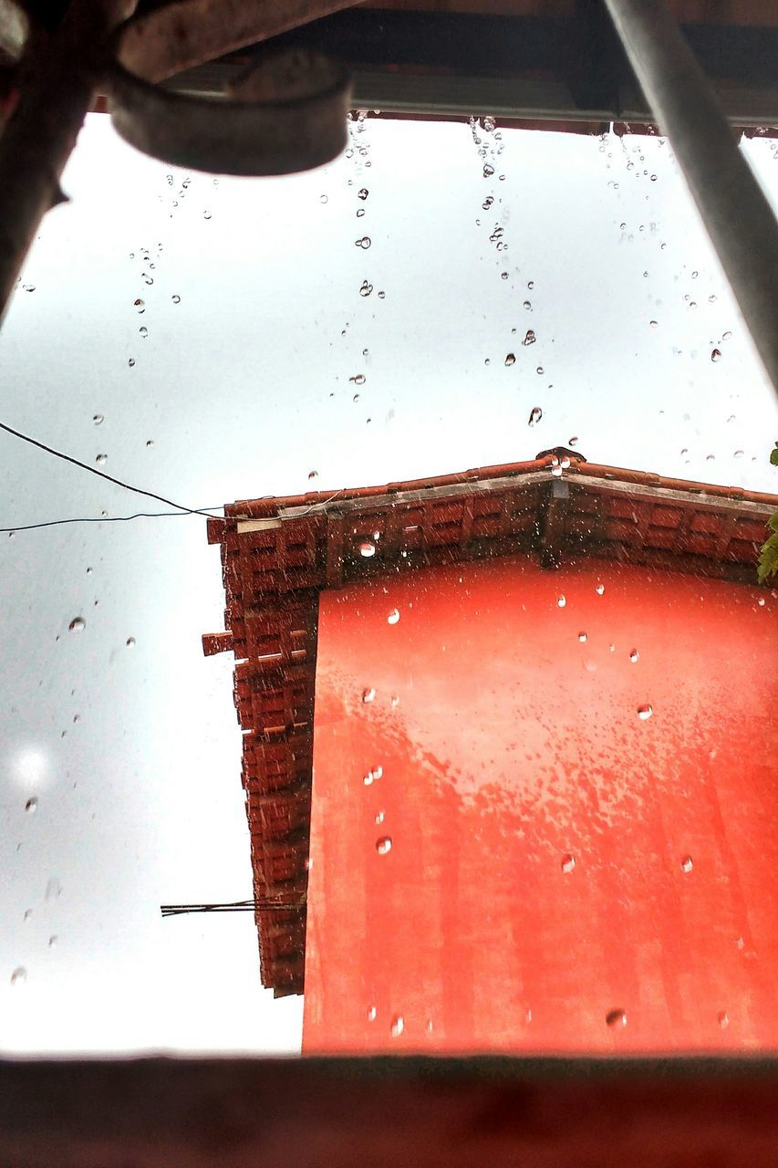 drop, red, water, window, wet, no people, close-up, day, indoors, nature, sky