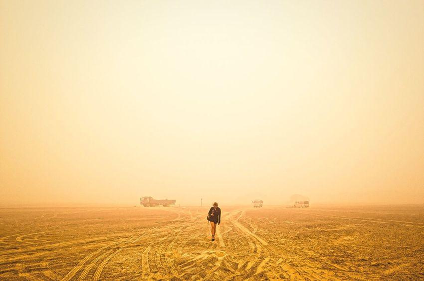 Journeys. Go Higher Sand Dune Sunset Rural Scene Standing Full Length Sky Landscape