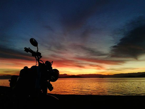 Motorcycle Travel Sunset Beach