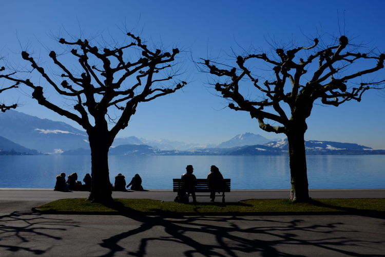 Silhouette People Sitting By Lake Against Clear Blue Sky