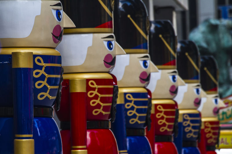 Close-up of toy soldiers for sale