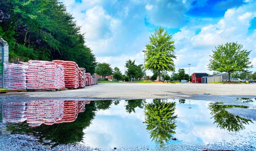 Reflection of trees and buildings on road against sky