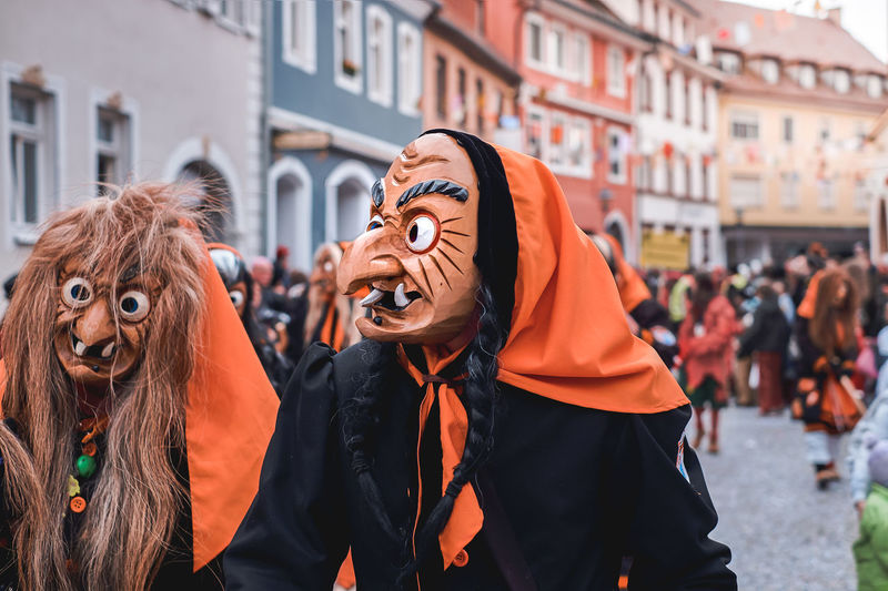 Group of people wearing mask in city