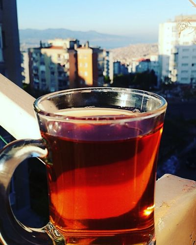 Günaydın...good morning😊😍 Drink Refreshment Drinking Glass Food And Drink No People Alcohol Close-up Day Outdoors Freshness Building Exterior City Architecture Cityscape Sky Turkishcay Tea çay Cay Keyfi Teatime
