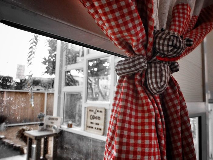 What is outside the window? Red People Outdoors Decoration Curtain Bear Eyeemphotography Best Shot EyeEm EyeEm Best Shots Popular EyeEm Gallery Best Edit Popular Photo The Week Of Eyeem