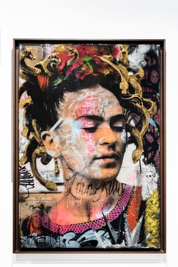 Frida Kahlo Art Portrait Headshot One Person Transfer Print Adult Close-up Indoors  Creativity Young Women Women Human Face