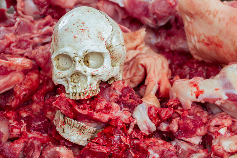 Close-Up Of Human Skull On Raw Messy Meat