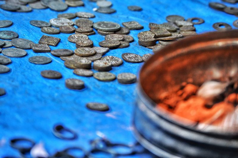 Old coins collections Currency Coin Day Full Frame No People Blue Backgrounds Indian Culture  Photooftheday Street Photography Street Metallic