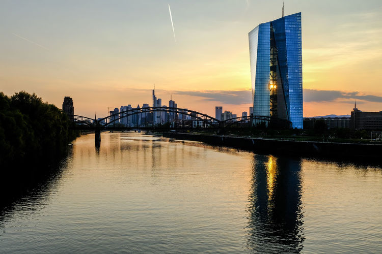 Architecture Skyline Skyline Frankfurt Architecture Bridge - Man Made Structure Building Exterior Built Structure City Connection Day European Central Bank No People Reflection River Sky Skyscraper Sunset Transportation Travel Destinations Urban Skyline Water Waterfront