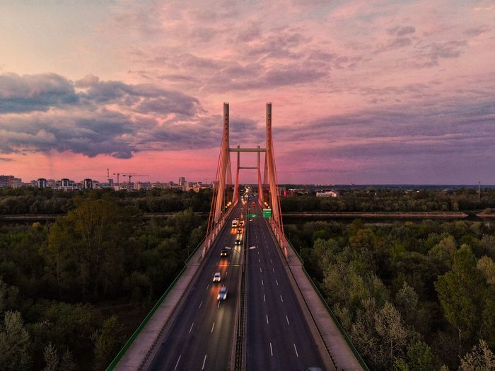 High angle view of bridge against sky during sunset