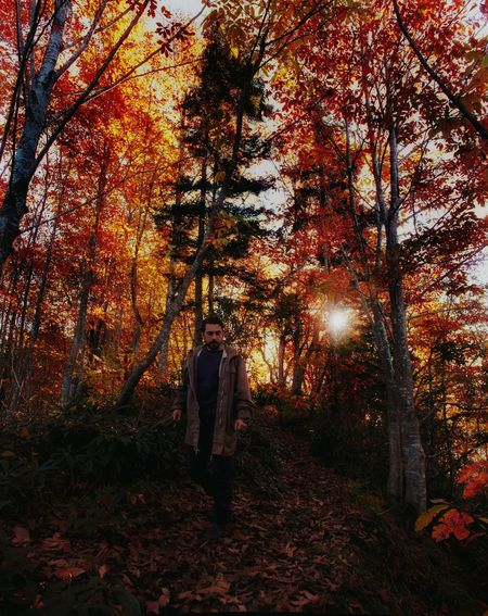Tree Real People Walking One Person Full Length Outdoors Nature Autumn Men Adults Only Day Adult People One Man Only Aoutmn Red Mountain Sunrise Nature