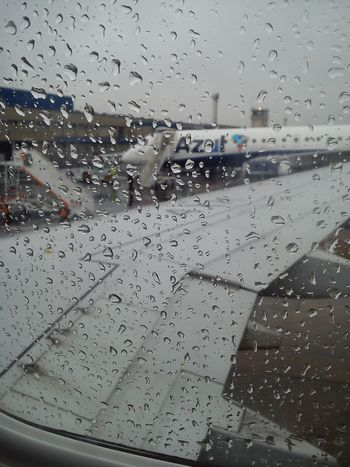 Cloudy Sky Plane Plane Window Plane Wing Rain Transportation Travel Window View Let's Go. Together. Raindrops Rainy Days