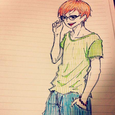 Illust Boy Grasses 男の子 絵 眼鏡