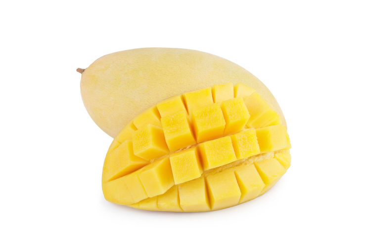 Eflection Ripe Season  Red One Mango Object Shade Shadows Wax White Yellow View Tropical Shape Sweet Leaf Juicy Food Fresh Freshness Exotic Eating Beautiful Delicious Front Fruit Ingredient Isolated Horizontal Healthy Good Green Background
