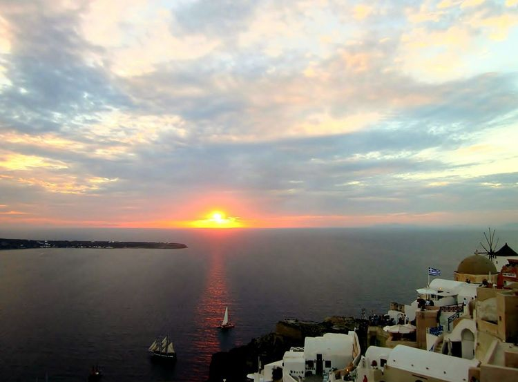 Incredible sunset at Oia, on the island of Santorini (Thera), Greece. Sunset Sea Travel Destinations High Angle View Scenics Santorini, Greece Outdoors Sky Water Nature Beauty In Nature