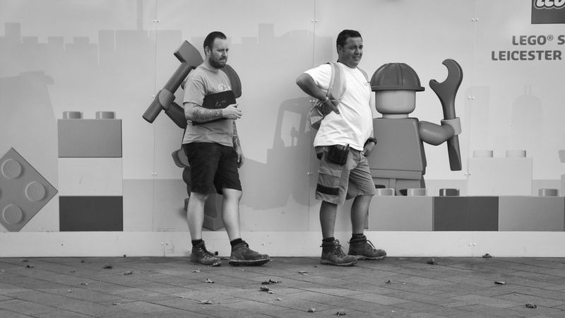 The builders Builder Builders LEGO Legophotography Workman Workmen Building Tools Tools Of The Trade London LONDON❤ Standing In Front Of Watching Leicester Square Streetphotography Street Photography Black And White Black & White People And Places Monochrome Photography