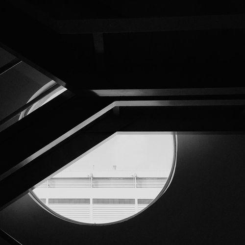 Staircase Black And White Circle Window Circular Window Modern Design