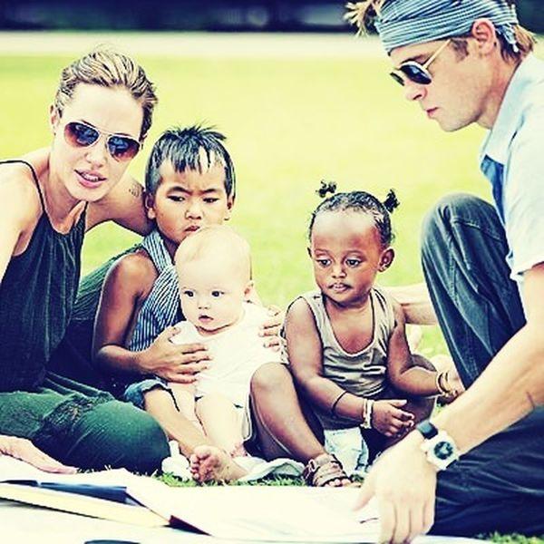 sweet family Angelina Jolie Brad Pitt Family Kids