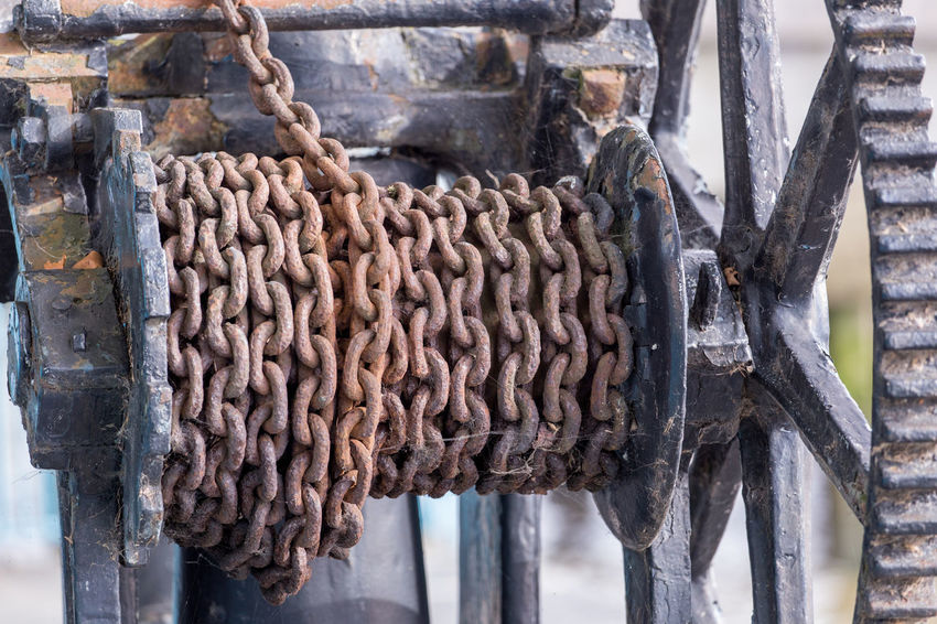 Corrosion Industrial Iron Brown Chain Chainlink Close-up Cog Day Equipment Gear Link Links Metal No People Old Outdoors Pulley Rusty Strength