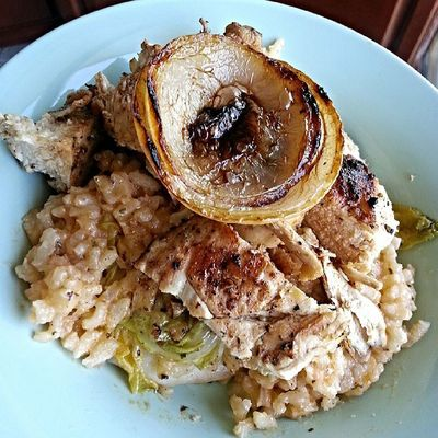 Herb risotto on Napa cabbage w grilled chix breast & onions