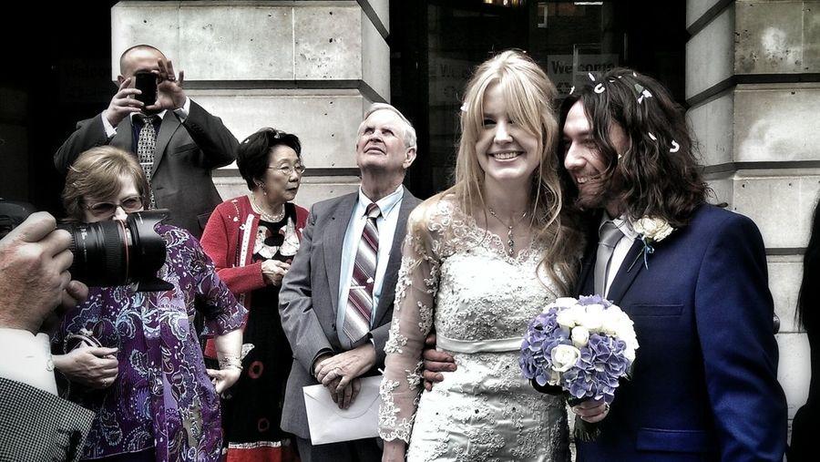 Wedding Bride And Groom Happy Taking Photos