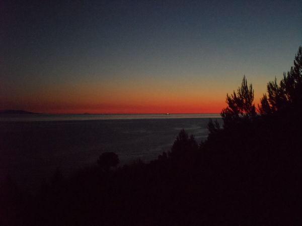 Sunset Sky Horizon Over Water Outdoors Night Adriatic Sea Island Brač 2016 Croatia