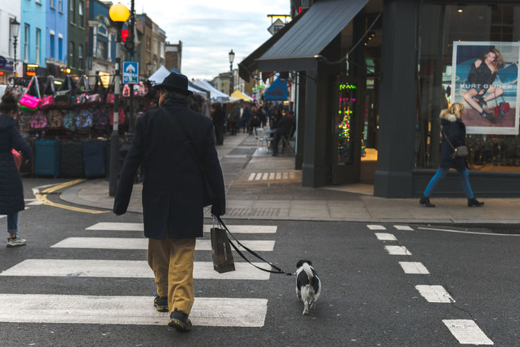 Man walking a dog on a busy market street in London, UK. Dog Walking Dogs Dogs Of EyeEm London Market Adult Architecture Building Exterior Built Structure City Clothing Day Dog Market Stall Men Outdoors Pedestrian People Real People Road Shop Street Streetphotography Walking Zebra Crossing Stories From The City
