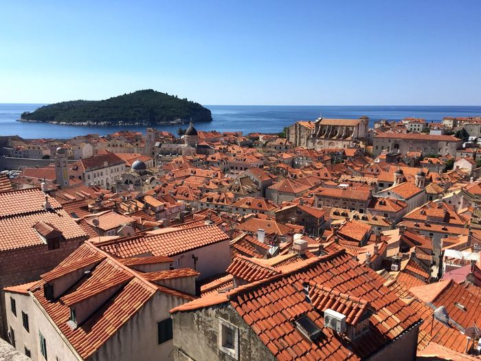 Overlooking an entire old town and beyond, from the fortress walls. Town Aerial View Fortress Fortress Wall Old Town Dubrovnik Croatia Europe Travel Travel Photography Travel Destinations Island Sea And Sky