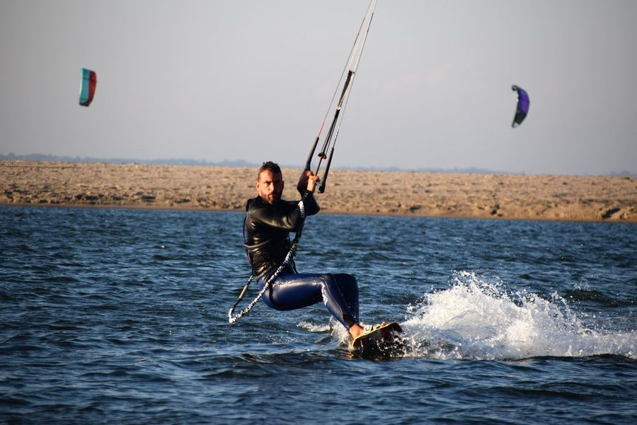 Acrobatics  Adult Adults Only Fit Kite Kitesurfing Maasvlakte Netherlands One Person Out Outdoors People Sea Sport Surfing Wetsuit Wind Power