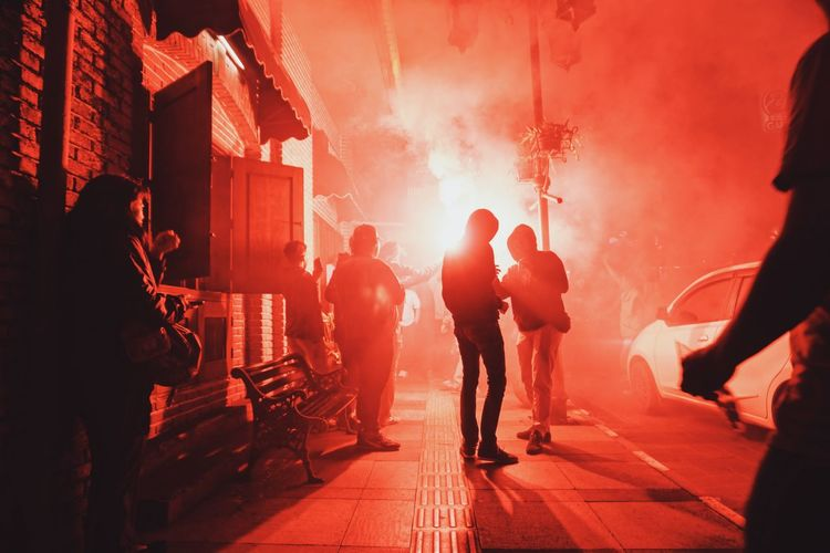 Persib Adult Bobotoh City Crowd Event Group Of People Men Night Nightlife Outdoors Party - Social Event Smoke - Physical Structure Young Men EyeEmNewHere