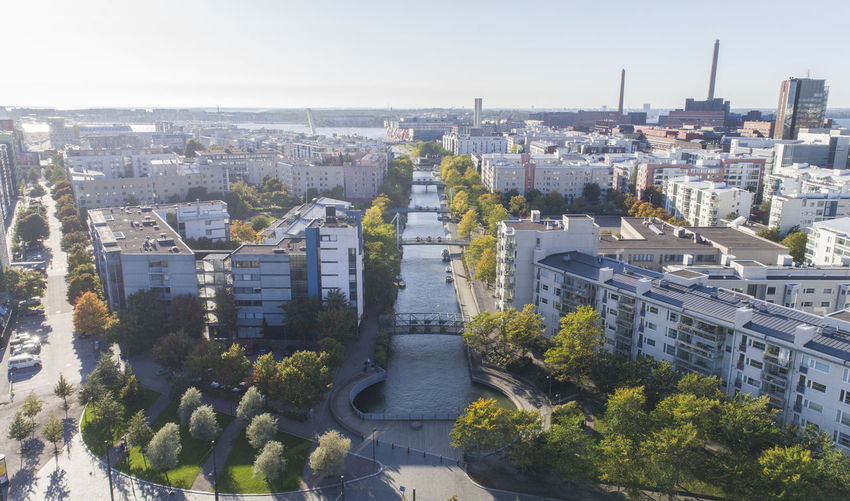 Autumn Drone  Finland From Above  Helsinki Suomi Aerial View Architecture Buildings Built Structure City Cityscape Day High Angle View Ilmakuva No People Outdoors Park River Tree