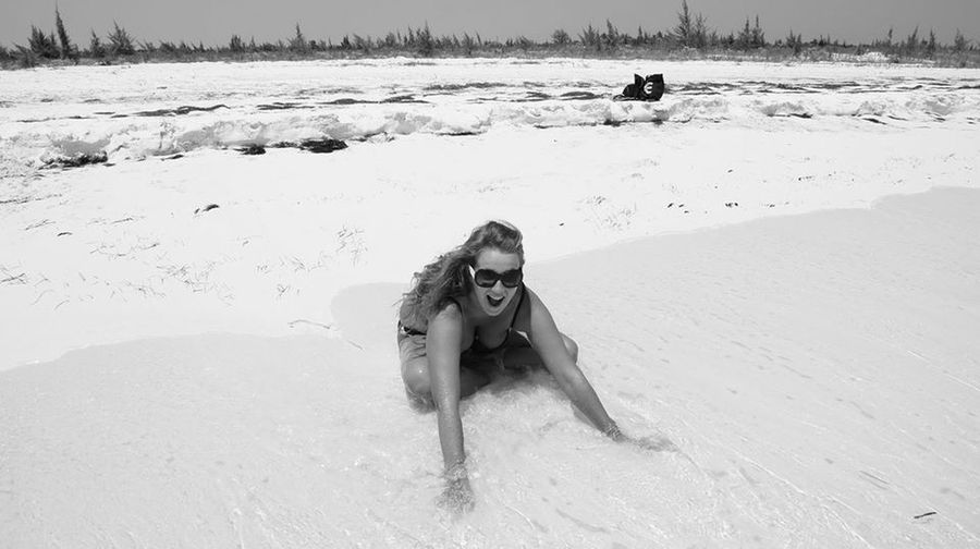 Happiness Life Is A Beach On The Beach Girls Wanna Have Fun ⭐ Black And White Smile