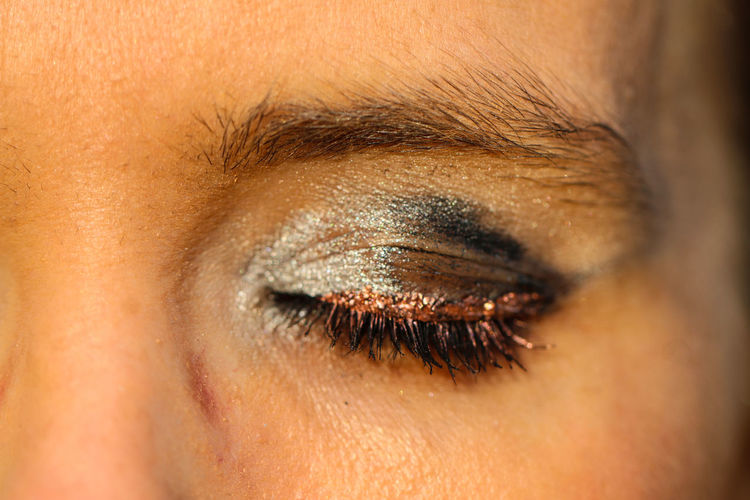 Close-up of woman with eyeshadow