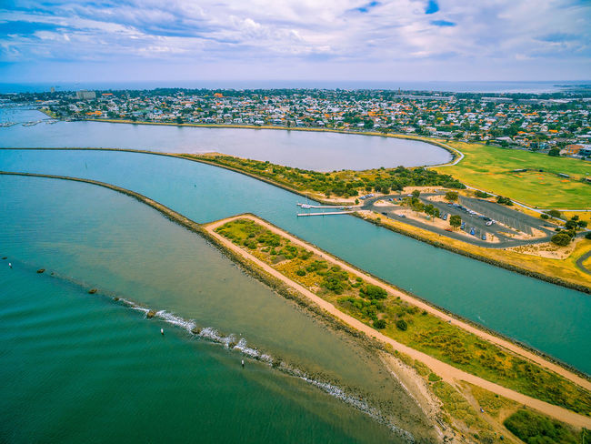 Aerial view of Yarra river mouth and Williamstown - coastal suburb in Melbourne, Australia Australia Coastline Drone  Aerial Aerial Landscape Aerial View Agriculture Beauty In Nature Cloud - Sky Day Drone Photography Field High Angle View Horizon Over Water Landscape Melbourne Nature No People Outdoors Patchwork Landscape Rural Scene Scenic View Scenics Sea Sky Tranquil Scene Tranquility Water