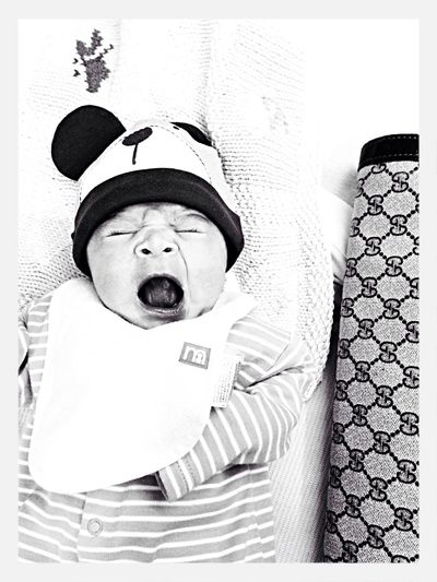 My little one, when he was only a week old Baby Black And White GUCCI Fashion