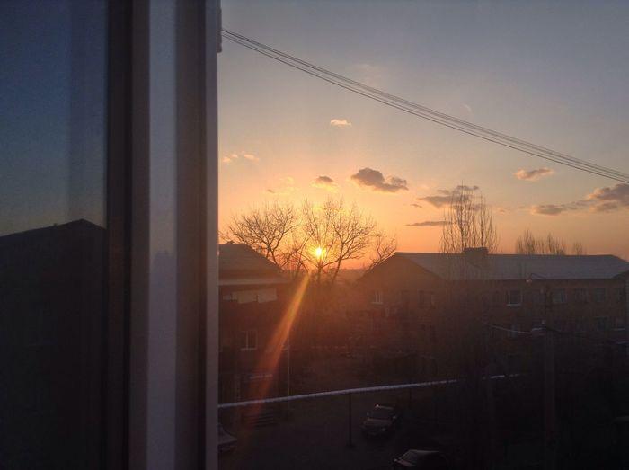 Sunset seen through car window