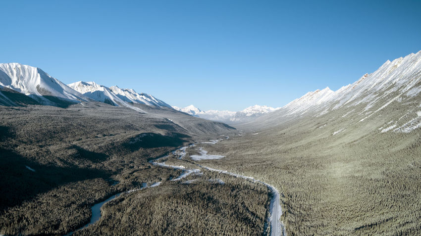 Icefields Parkway DJI X Eyeem Snow Road Aerial View Aerial Forest Canada Green Trees Mountain Mountain Range Cold Temperature Nature Winter Landscape Beauty In Nature Snowcapped Mountain Mountain Peak Travel Destinations Vacations Day Clear Sky Sky Shades Of Winter