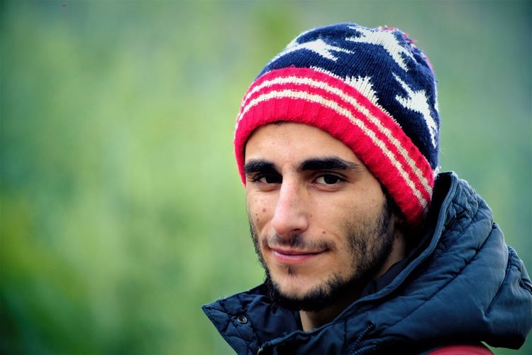 Portrait USA Winter Close-up Day Focus On Foreground Happiness Headshot Lifestyles Looking At Camera Mid Adult Mid Adult Men Nature One Person Outdoors People Portrait Real People Smiling Stars And Stripes Warm Clothing Young Adult